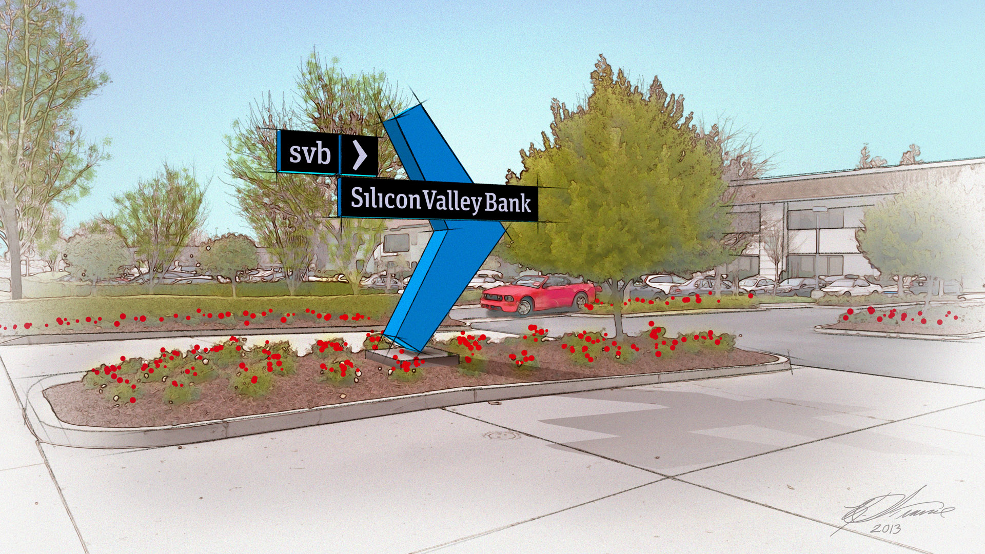 Silicon Valley Bank Driveway Sign
