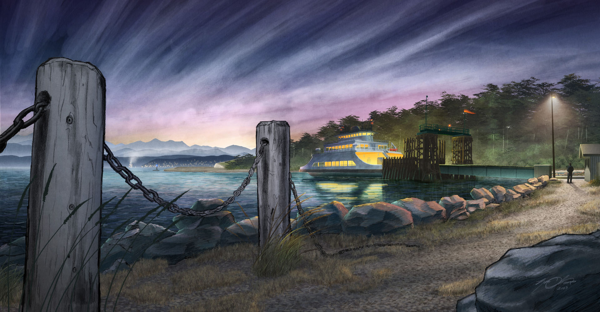 Whidbey Island Ferry Dock Painting