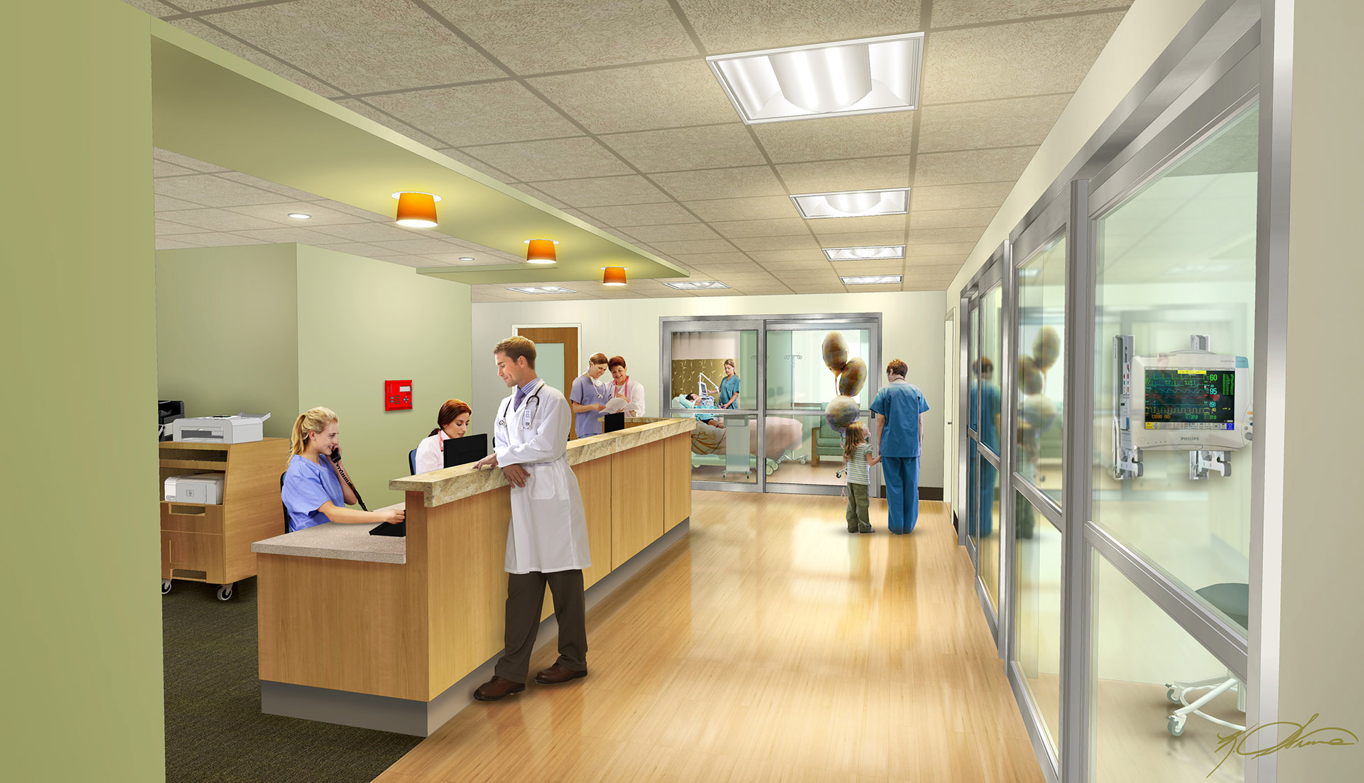 Illustration of Columbia Mamorial Hospital Critical Care Unit by Kurt Struve