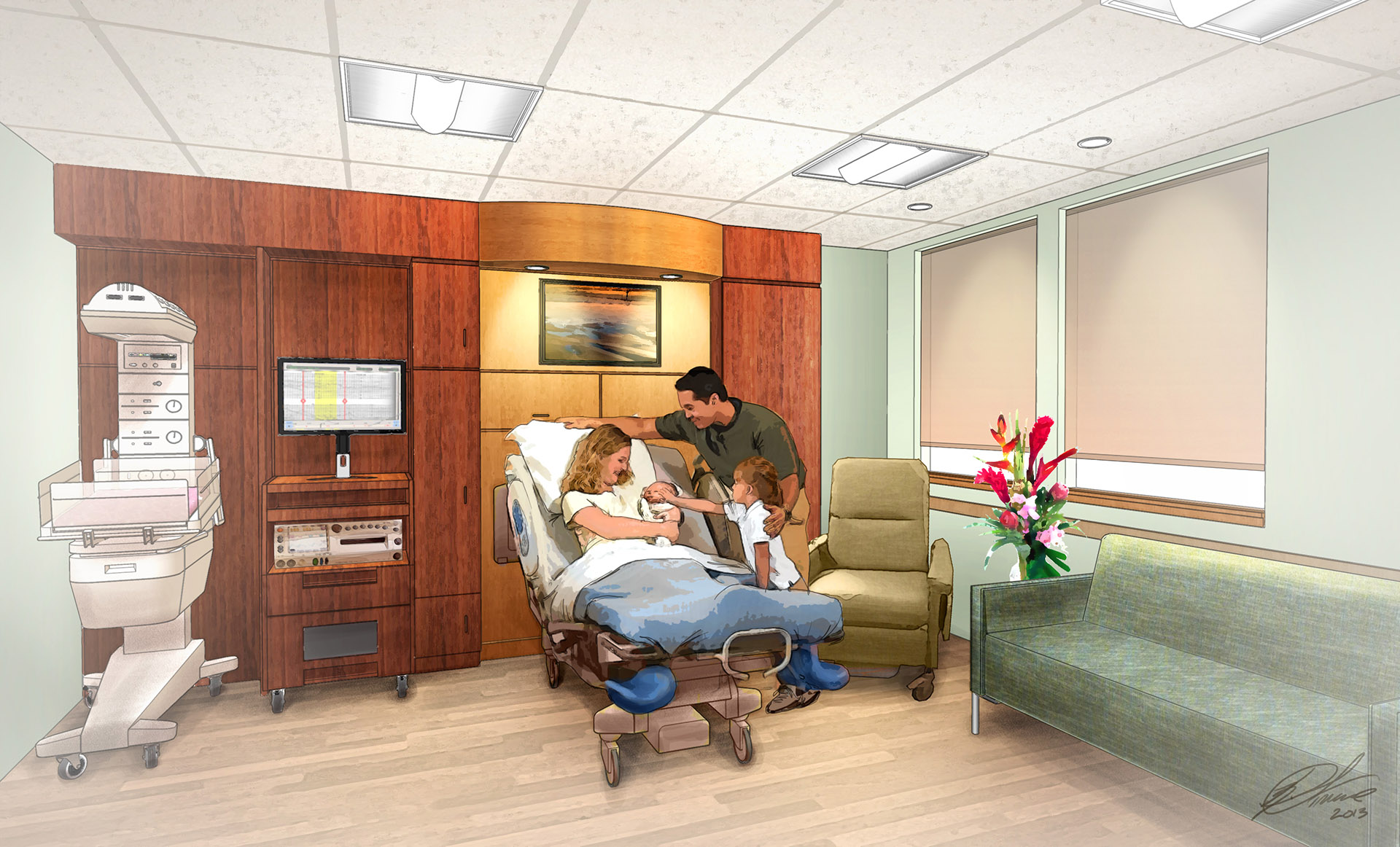 CMH Maternity room Illustration by Kurt Struve