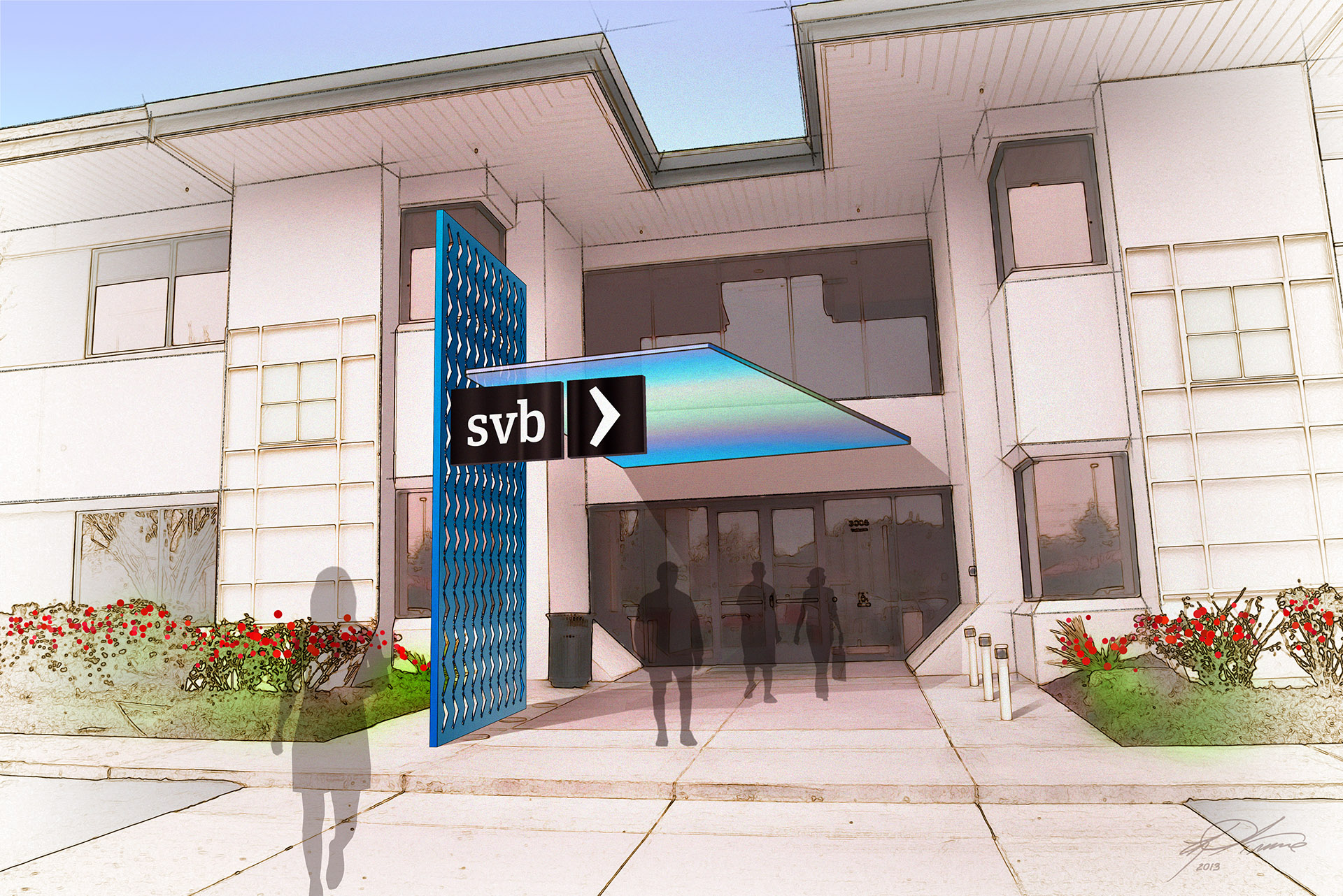 Rendering of Silicon Valley Bank Building Entry